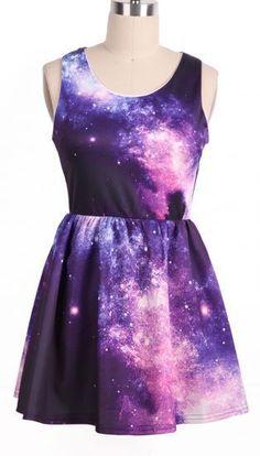 Purple Pink Sleeveless Galaxy Pattern Dress - Sheinside.com Mobile Site