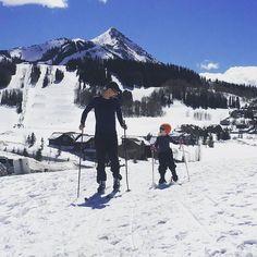 Xc skiing. Big guy. Little guy. Fun times had by all