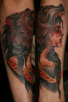 Stefan Johnsson - Woman in bear headdress Dragon Tattoo Back Piece, Dragon Sleeve Tattoos, Dad Tattoos, Tattoos For Guys, Tatoos, Traditional Tattoo Woman, Traditional Tattoos, Headdress Tattoo, Chris Garver Tattoo