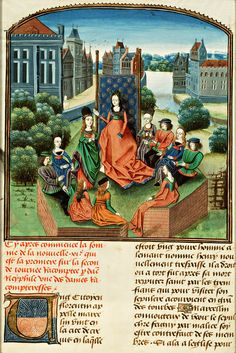 Illumination in Froissart's Chronicles: the Kings of France (top left), and England (top right) and Spain (Léon and Castile), and the Count of Holland and Hainault. Jean Froissart, 'Croniques' (first part). Paris, early fifteenth century. Shelf-mark: 72 A 25, fol. 1r