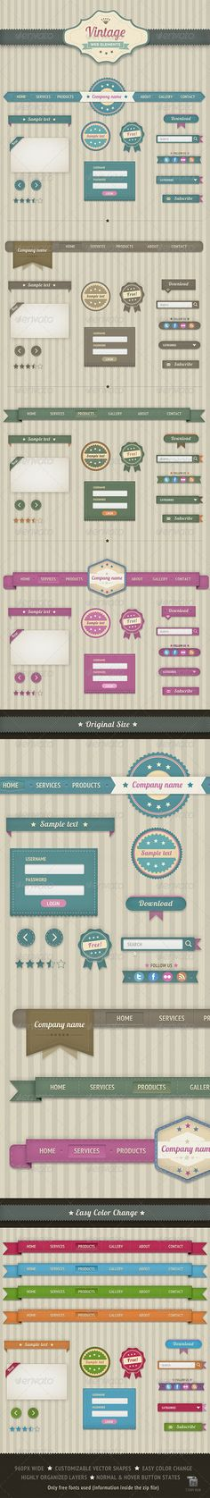 vintage web elements $5 via graphicriver