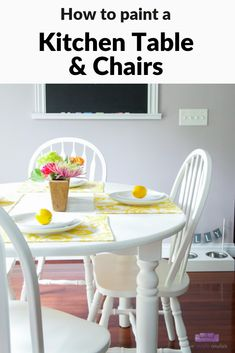 Kitchen table makeover idea - how to paint a kitchen table and chairs with a paint sprayer. #ad #DIWagner #DoneInADay #beforeandafter #furnituremakeover #kitchentablemakeover #paintedfurniture #kitchen