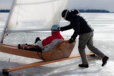 Winter activities in Sweden include ice yachting