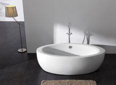 Freistehende Badewanne MODENA ACRYL weiß BS-859 185x91 inkl. Ab/ Überlauf badewelt whirlpool-badewannen