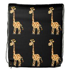 Funny Giraffe Primitive Art Backpack #giraffes #backpacks #art #funny And www.zazzle.com/inspirationrocks*