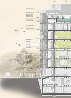 Centro Vertical Centro Vertical Comunitario - Modelo del proyectoComunitario - Corte Fachada