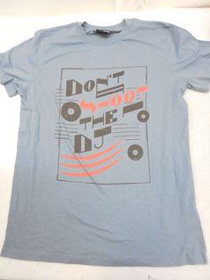 DIESEL Mens Slate Blue Graphic Screen Print Don't Shoot The Dj Tee T-Shirt Size M