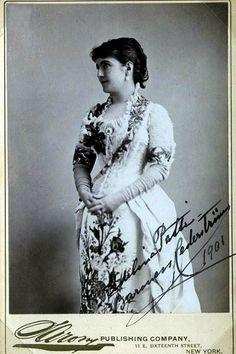 Adelina Patti.  She was a highly acclaimed 19th-century opera singer, earning huge fees at the height of her career in the music capitals of Europe and America. She first sang in public as a child in 1851 and gave her last performance before an audience in 1914. Along with her near contemporaries Jenny Lind and Thérèse Tietjens, Patti remains one of the most famous sopranos in history due to the purity and beauty of her lyrical voice and the unmatched quality of her bel canto technique.