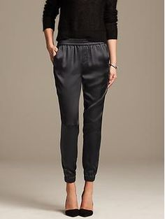 Shine Drapey Pant -- the perfect, slim slouchy pant. Tried on in-store (size 2) and was perfect (but needed short leg). Excellent for petites, material and cut is classy enough to be work appropriate.