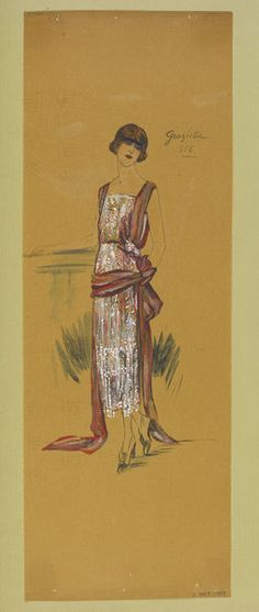 Early 1919  Evening dress in beaded net with draped wine-red shot-silk sash. | Jeanne Paquin | V&A Search the Collections
