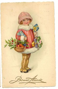 1930s Art Deco Postcard Girl Carrying Gifts Mistletoe | eBay