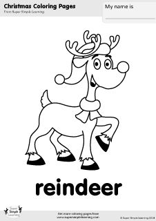Free reindeer coloring page from Super Simple Learning. Tons of Christmas worksheets, flashcards, and crafts at www.supersimplelearning.com/resource-room. #kindergarten #preK #ESL