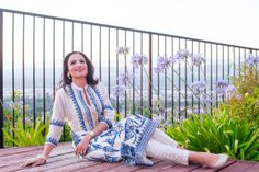 Reminiscing: In a Blue and Cream Embroidered Indian Outfit