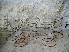 Salvaged Upcycled Rusty Bed Springs - Jelly Jar Vases - Candle Holders