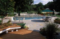Swimming pool deck for entertaining, lounging, and more.