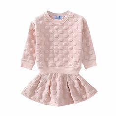 Girl's Polka Dotted Long-Sleeve Pullover/Top & Pleated Skirt Set in Pink, 61% discount @ PatPat Mom Baby Shopping App