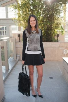 Margaret O'Leary sweater, Topshop skirt, Valentino heels, Zara bag, and H necklace