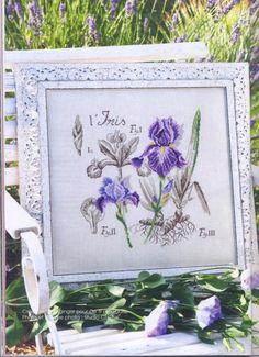 """""""L'iris"""" by Sophie Bester from 'De fil en aiguille - Etudes de Botanique' No. 28 Oct/Nov, p. 42"""