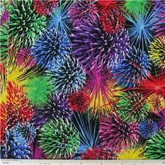 "Fireworks Fabric is 44"" wide and 100% cotton.    	CARE INSTRUCTIONS - Machine Wash, Warm; Tumble Dry; Remove Promptly.    	Available in 1-yard increments. Average bolt size is approximately 7 yards. Price displayed is for 1-yard. Enter the total number of yards you want to order."