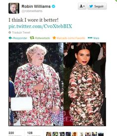 Robin Williams as Mrs Doubtfire vs Kim Kardashian - Who Wore It Better?~ Lol Robin wore it better! Robin Williams, I Love To Laugh, Make Me Smile, Kim Kardashian, Funny Tweets, Funny Memes, Funny Quotes, Funny Sarcastic, Mrs Doubtfire