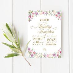 プロフィールブック/結婚式/席次表/メニュー表/セミオーダー/花柄/ブルー/上品/海外風/ピンク/ラベンダー/profilebook/wedding//flower/pink/lavender