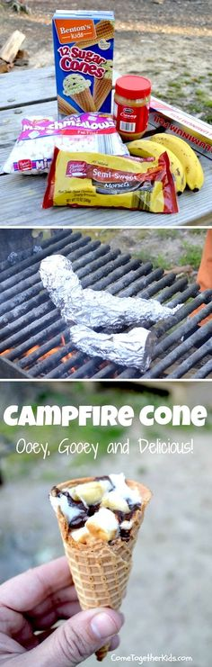 Campfire Cones. I love this idea! Maybe with Nutella instead of the peanut butter and choco chips? Mmmmmm yumm