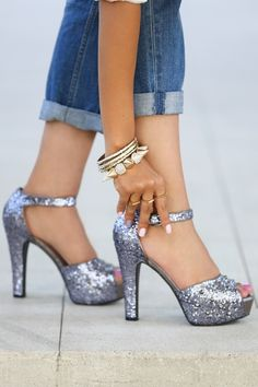 Silver and adorable. (I wouldn't wear these with jeans, though.)