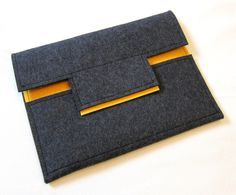 Wool Felt iPad Case in Charcoal Gray and Sunflower Yellow. $36.00, via Etsy.