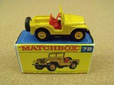 VINTAGE LESNEY MATCHBOX # 72 STANDARD JEEP ORIGINAL BOX #Matchbox #Jeep Toy Model Cars, 1970s Toys, Matchbox Cars, Childhood Days, Metal Toys, Toy Trucks, Old Toys, Jeeps, Vintage Toys