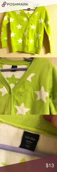 Baby Gap star cardigan Seriously how cute is this?! Size 4T green and white star knit button up cardigan. In excellent condition, this is such a cute piece for your little one! GAP Jackets & Coats