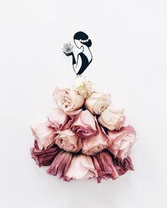 Sassy Du Fleur illustration out of petals Art Floral, Floral Fashion, Fashion Art, Fashion 2018, Dress Fashion, Flower Petals, Flower Art, Fashion Illustration Dresses, Fashion Illustrations