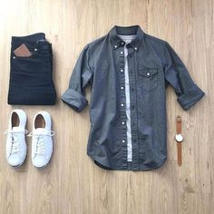 Men's outfit grid - white canvas low top sneakers