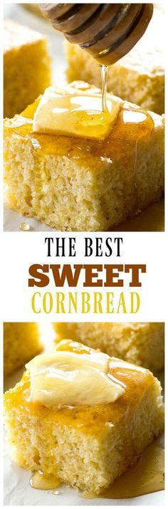 Best Sweet Cornbread The Best Sweet Cornbread - soft, tender cornbread that's sweet just like I like it. the-girl-who-ate-The Best Sweet Cornbread - soft, tender cornbread that's sweet just like I like it. the-girl-who-ate- Think Food, Love Food, Baking Recipes, Dessert Recipes, Drink Recipes, Dinner Recipes, Sweet Cornbread, Moist Cornbread, Cornbread Recipes