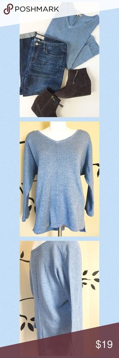 Banana Republic sweater Worn only a couple of times and in excellent condition with no pilling or flaws to be found! Pretty blue to brighten your closet. Classic and versatile sweater with dolman type sleeves and a lower cut in back. Flattering! Banana Republic Sweaters V-Necks
