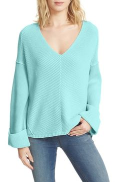 Free People La Brea V-Neck Sweater available at #Nordstrom