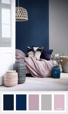 Navy blue + mauve and grey color palette - bedroom color schemes Apartment Color Schemes, Living Room Color Schemes, Blue Color Schemes, Living Room Grey, Living Room Decor, Colour Combinations Interior, Blue Room Decor, Good Living Room Colors, Paint Combinations