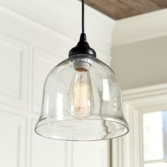 Clear Glass Bell Pendant Shade - Pendant Adaptor