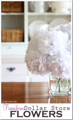 Transform dollar store flowers by adding tissue flowers-diy
