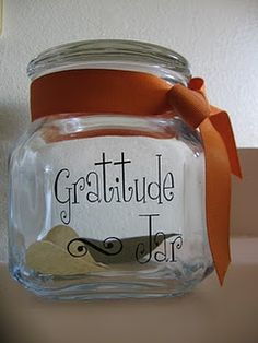 Thanksgiving gratitude jar.  Each morning during the month of November, each family member writes down (or draws a picture) something for which they are thankful, no repeats allowed.  On Thanksgiving morning, the jar is opened and the slips are read aloud.  Love this tradition!