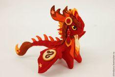 Купить Дракон мягкая игрушка soft toy dragon скульптура из ткани - ярко-красный, дракон
