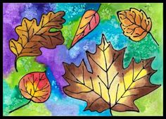Listy kreslené s lepidlem 5th Grade Art, Autumn, Fall, Czech Republic, Art Projects, Crafts For Kids, Painting, Kunst, Art Designs