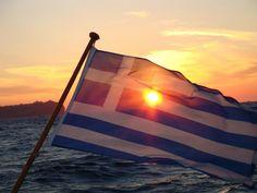 Greek flag and sunset Greek Flag, Republic Of Macedonia, Greek Culture, Southern Europe, Greece Travel, Eastern Europe, Greek Islands, Travel Inspiration, Creative Inspiration