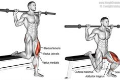 Barbell Bulgarian split squat exercise