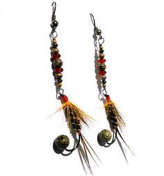 Fishing Fly Earrings  Green Red Yellow Feathers by MajaEarrings, $14.00