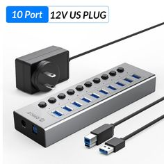 Aluminum USB 3.0 HUB Multi High Speed 7 10 13 16 Port USB Splitter With 12V Power Adapter Switch for Industrial Computer Usb Hub, Charging Cable, Aluminium Alloy, High Speed, Power Strip, Industrial, Type, Industrial Music