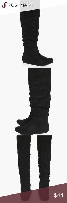 Rebecca Ruched Over The Knee Boot Size seven black over the knee boots from Boohoo. Boohoo Shoes Over the Knee Boots