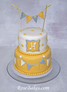 "Gray & Yellow ""You Are My Sunshine"" Baby Shower Cake at RoseBakes.com:  http://rosebakes.com/gray-yellow-baby-shower-cake/"
