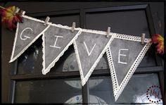 chalkboard paint on muslin bunting (backed with freezer paper)  ... all hands?