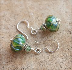 Unique Green Lampwork Earrings