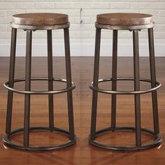 Glosco Tall Counter Height Barstool in Medium Brown - Set of 2